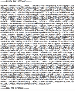 Voorbeeld van een versleuteld bericht